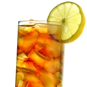 iced tea isolated on white closeup